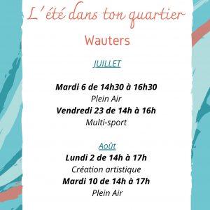 Programme activités été 2021 – Cité Wauters